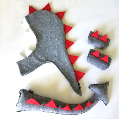 Kids dino/dragon costume set - tail, hood and cuffs - Grey with RED spines