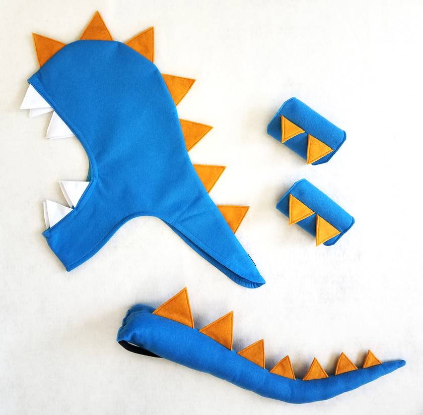 Kids dinosaur costume set - tail, hood and cuffs - BLUE with Mustard spines