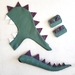 Kids dinosaur costume set - tail, hood and cuffs - Sage with Purple spines