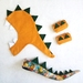 Kids dinosaur costume set - tail, hood and cuffs - Mustard with Green spines