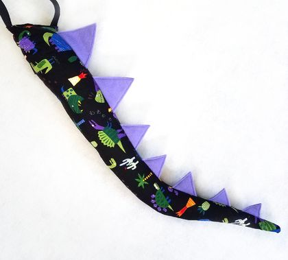 Dinosaur kids tail - Dino print with Purple spines