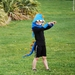 Kids dinosaur Hood - BLUE with Mustard Or Sage spines