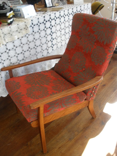 restored retro armchair and matching footstool felt