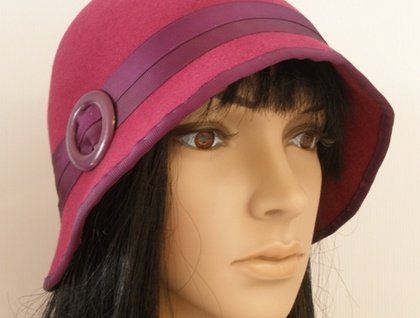 Lillian - Deep Brimmed Art Deco Style Cloche Hat with Buckle - Choice of Colours