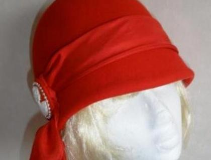 Art Deco Style Cloche Hat - Bright Red **Mid Season Sale**