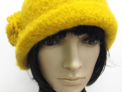 Hand-Felted Wool Cloche - Yellow/Orange
