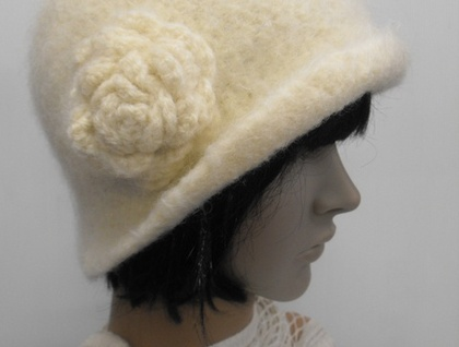 Hand-Felted Wool Cloche Hat - Neutral Colours