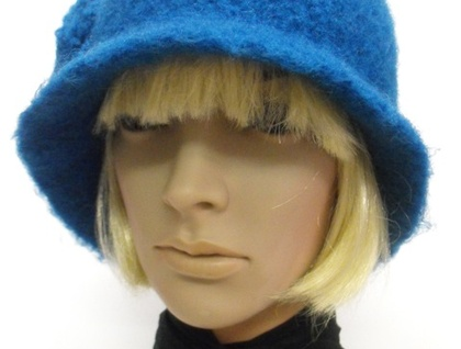 Hand-Felted Wool Cloche Hat - Blues