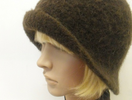 Hand-Felted Wool Cloche Hat - Browns