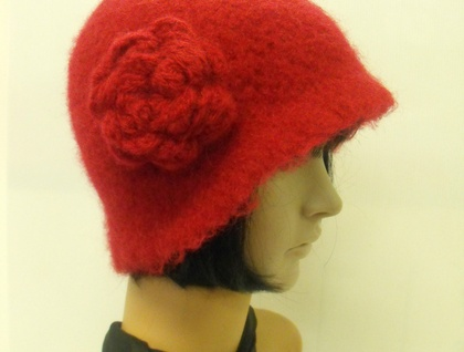 Hand-Felted Wool Cloche Hat - Reds & Pinks