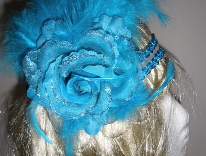 Flapper Headband - Light Blue & White