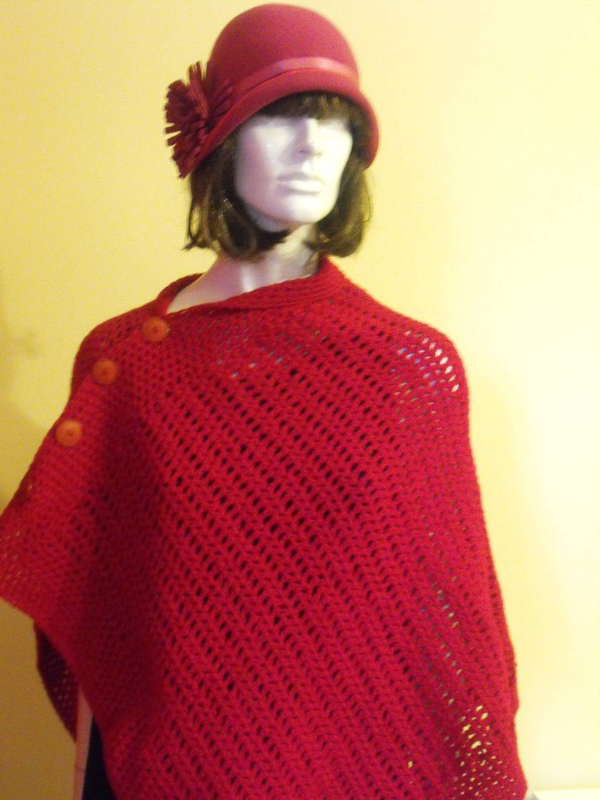 Handmade Poncho / Wrap with Buttons