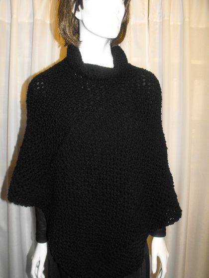 Handmade Poncho / Wrap with Cowl Neck