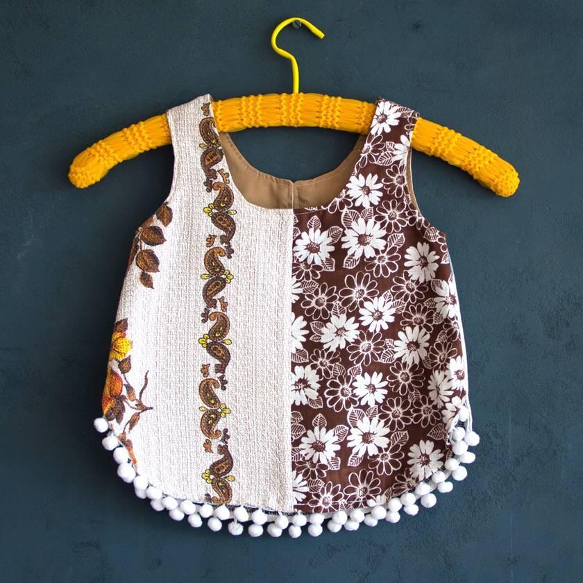 Girls Tunic, vintage fabrics. Size 2.