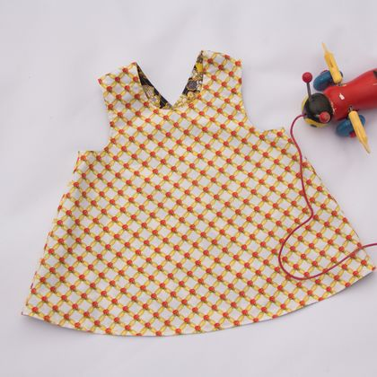 Cross over pinafore dress, reversible