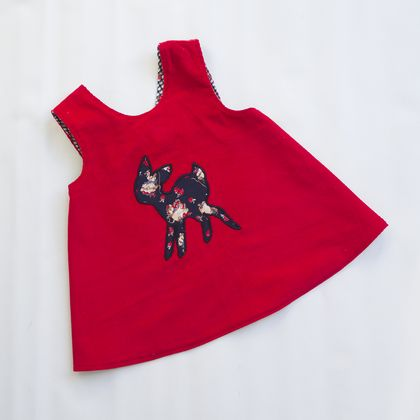 Reversible pinafore dress, little deer.