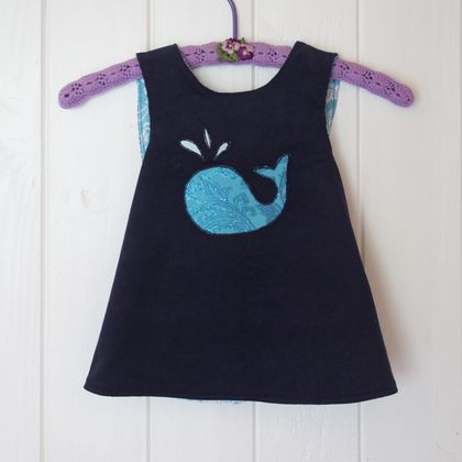 Sparkly Whale - Reversible Pinafore Dress