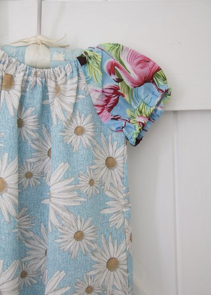 Daisies and flamingos - Peasant Frock 3 yrs