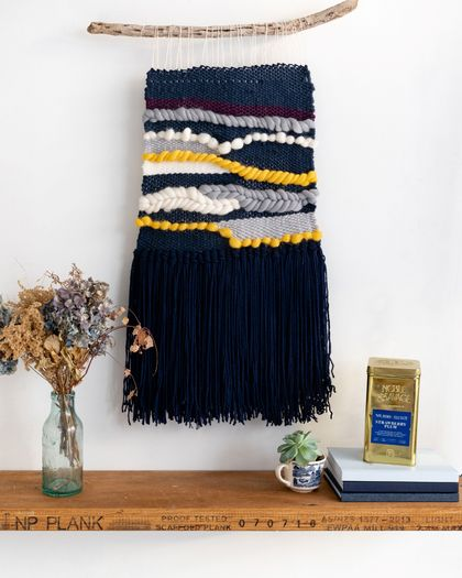 Navy/Yellow Large Woven Hanging