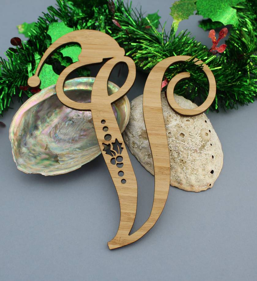 Laser cut Eco-friendly Bamboo Fancy Letters with Christmas hats