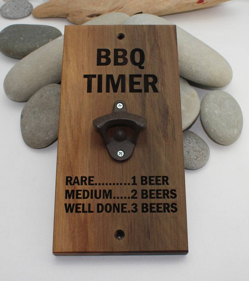 NZ Made Rimu River Wood Wall Mounted Bottle Opener  -  BBQ TIMER.....