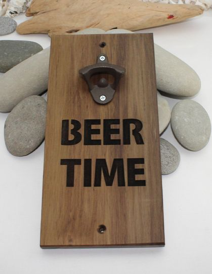 NZ Made River Wood Wall Mounted Bottle Opener  -  Beer Time