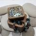 SALE NZ Made Rimu Riverwood Square Plain Box medium - Paua shell Lid
