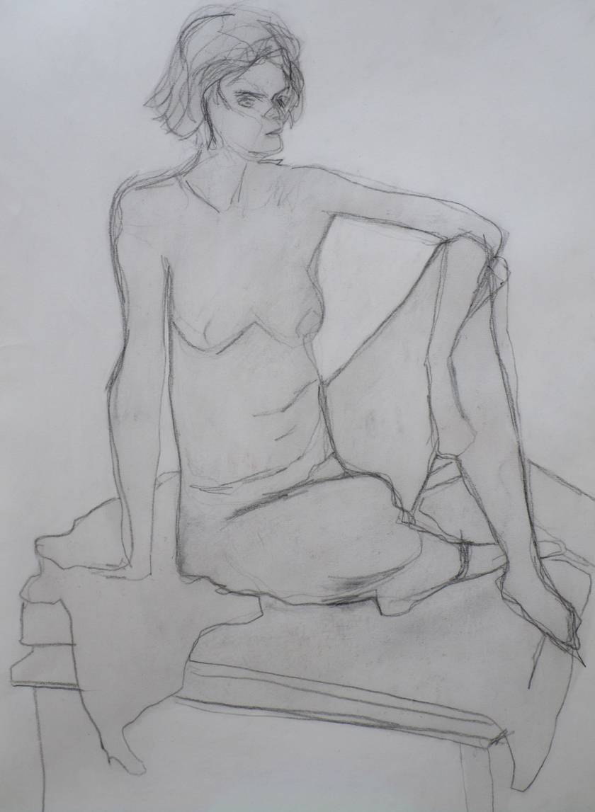 Seated female nude in Pencil