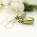 Silver and green pearl drop earrings