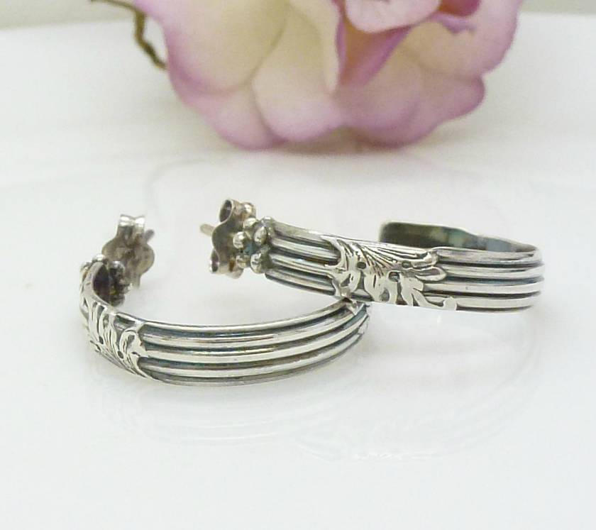 Small sterling silver patterned hoop earrings