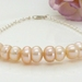 Peach freshwater pearl bracelet in sterling silver