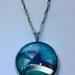 Aqua and silver swirl pendant necklace