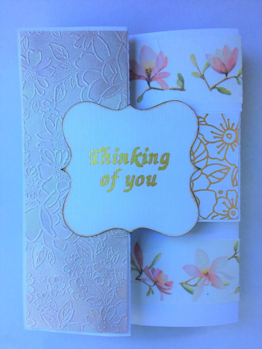 Pale pink tri-shutter card