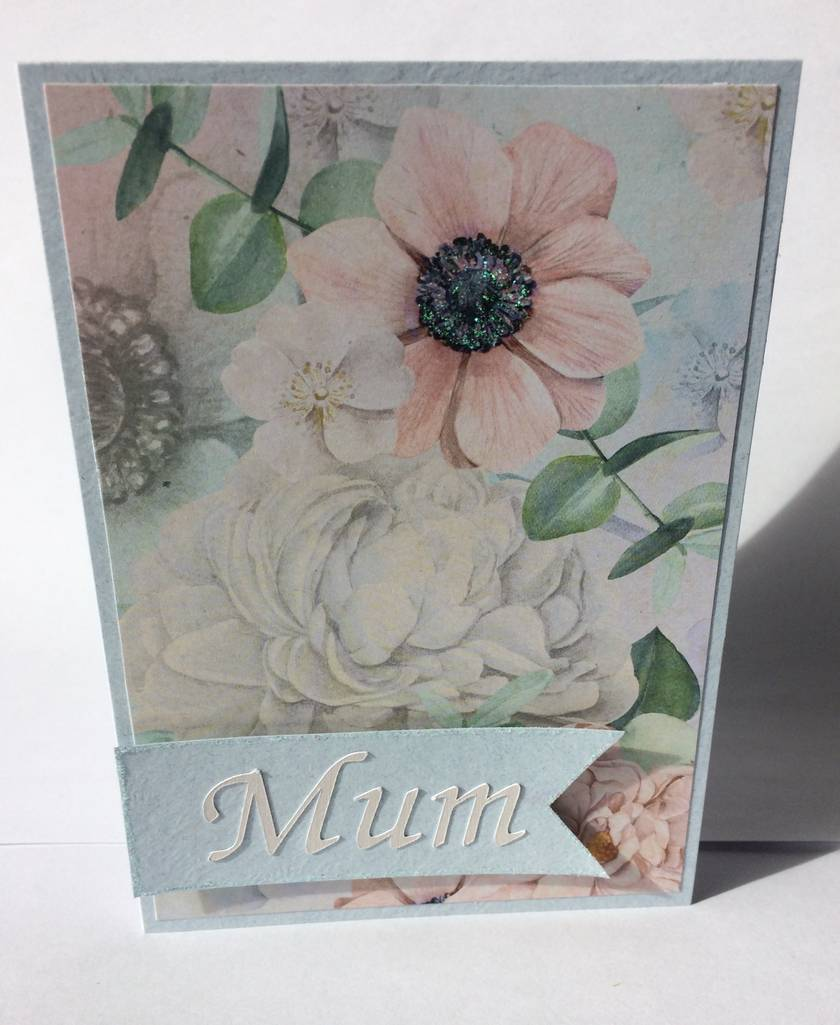 Mum blue floral greeting card