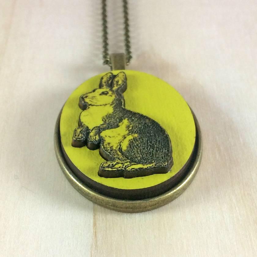 Rabbit Pendant - bright yellow