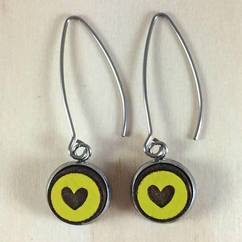 Heart Earrings - bright yellow