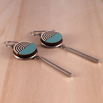 Tassel Earrings, Laser Cut - White/Gulf Blue
