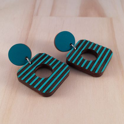 80s Earrings, Laser Cut - green