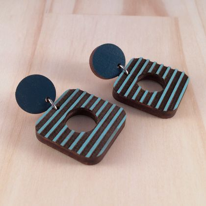 80s Earrings, Laser Cut - blue