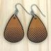 Leather Dotty Teardrop Earrings - Mustard