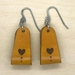 Leather Heart Wrap Earrings - Yellow