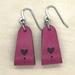 Leather Heart Wrap Earrings - Pink