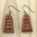 Leather Window Wrap Earrings - Orange