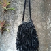Leather woven strip bag