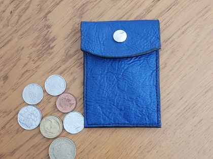 Blue leather coin purse