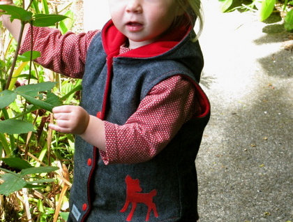 Denim Autumn vest with a great peak in the hood  !