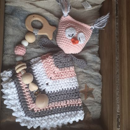 Sleeping Owl lovey/cuddly and teething ring set
