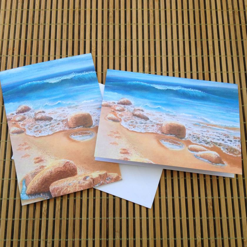 2 Fine Art cards  'Beach Scene'