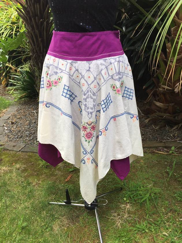 Vintage Cross-stitch Handkerchief Skirt