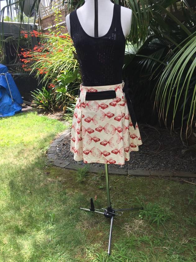 Pleated Belted Mini Skirt Goldfish